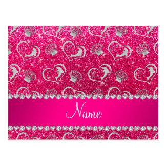 Brillo de plata conocido del rosa color de rosa de tarjeta postal