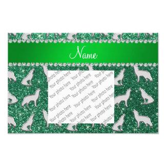 Brillo de plata conocido personalizado de la verde fotografía