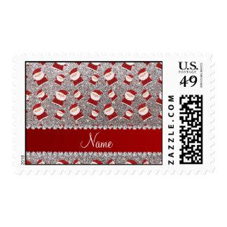 Brillo de plata conocido personalizado santas sellos
