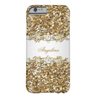 Brillo de plata de la joya del diamante del oro funda de iPhone 6 barely there