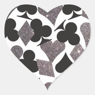 Brillo de plata del pegatina del corazón de Las Ve