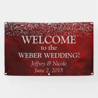Brillo de plata elegante en bandera roja del boda lona