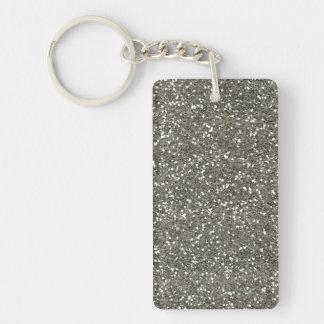Brillo de plata elegante llavero rectangular acrílico a doble cara