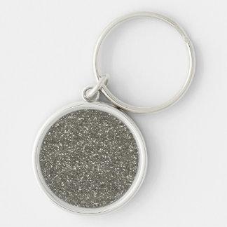 Brillo de plata elegante llavero redondo plateado