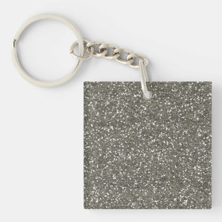 Brillo de plata elegante llavero cuadrado acrílico a doble cara