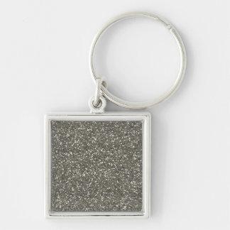 Brillo de plata elegante llavero cuadrado plateado