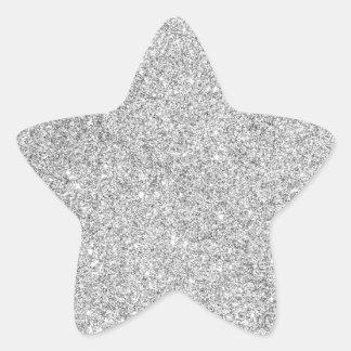 Brillo de plata elegante pegatina en forma de estrella