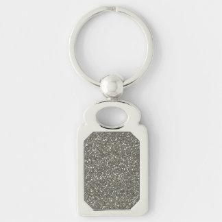 Brillo de plata elegante llavero plateado rectangular