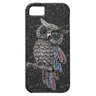 Brillo de plata impreso del negro del búho y de funda para iPhone 5 tough