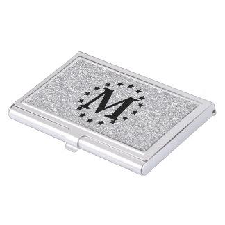 Brillo de plata y estrellas cajas de tarjetas de presentación