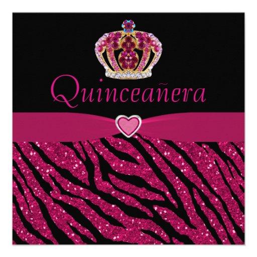 Brillo de princesa Crown, del corazón y de la cebr Invitacion Personal
