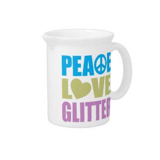 Brillo del amor de la paz jarras para bebida