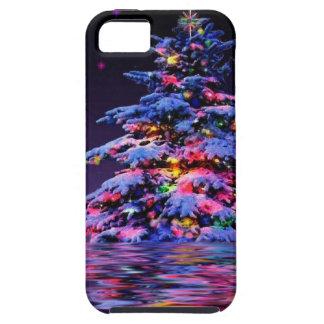 Brillo del arco iris del árbol de Navidad iPhone 5 Case-Mate Protectores