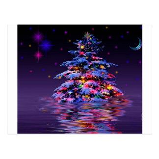 Brillo del arco iris del árbol de Navidad Tarjetas Postales