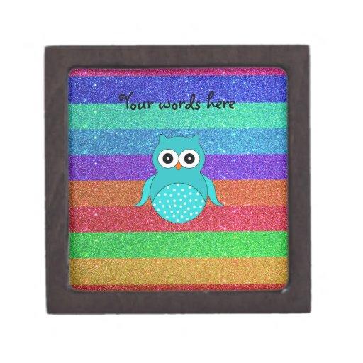 Brillo del arco iris del búho de la turquesa caja de recuerdo de calidad