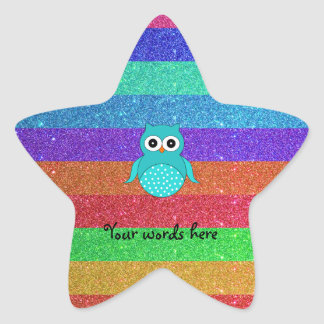 Brillo del arco iris del búho de la turquesa pegatina en forma de estrella
