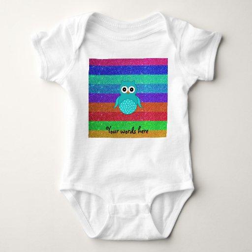 Brillo del arco iris del búho de la turquesa t shirts