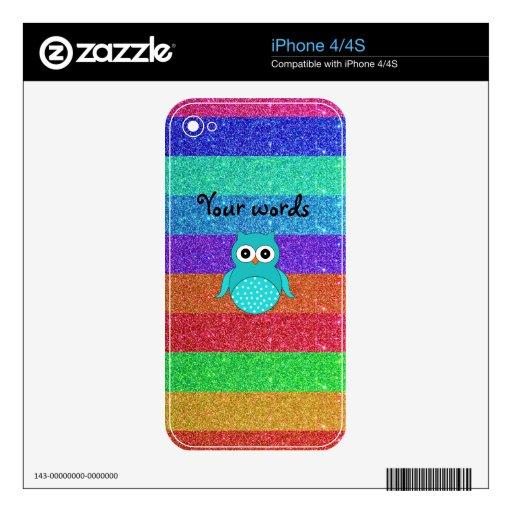Brillo del arco iris del búho de la turquesa calcomanía para iPhone 4S