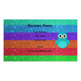 Brillo del arco iris del búho de la turquesa plantilla de tarjeta de visita
