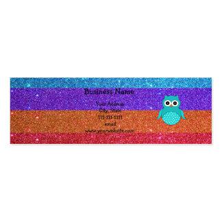 Brillo del arco iris del búho de la turquesa tarjetas de visita