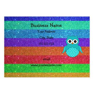 Brillo del arco iris del búho de la turquesa plantillas de tarjeta de negocio