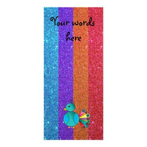 Brillo del arco iris del pavo real del arco iris tarjeta publicitaria personalizada