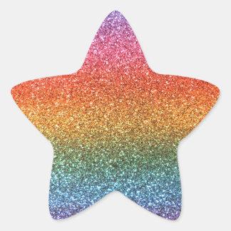 Brillo del arco iris pegatinas forma de estrella