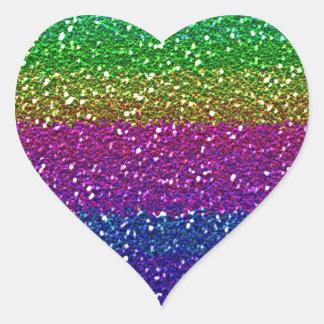 Brillo del arco iris pegatina en forma de corazón