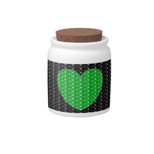 Brillo del corazón del verde del negro del tarro d platos para caramelos