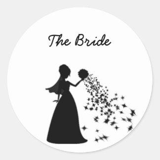 Brillo del negro de la silueta de la novia de pegatina redonda