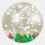 Brillo del ornamento del navidad etiqueta redonda