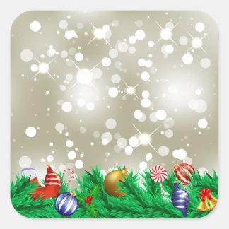 Brillo del ornamento del navidad pegatina cuadrada