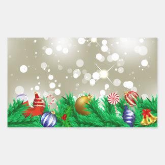 Brillo del ornamento del navidad pegatina rectangular