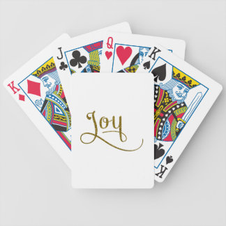 Brillo del oro de la escritura de la alegría barajas de cartas