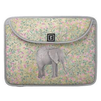 Brillo del oro de las flores del elefante de la funda para macbook pro