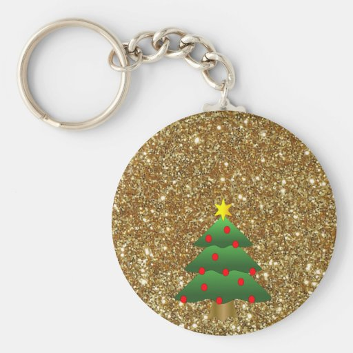 Brillo del oro del árbol de navidad llaveros