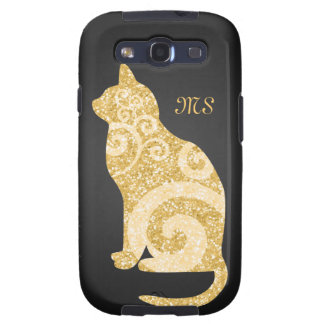 Brillo del oro del gato de Swirly Samsung Galaxy S3 Protector
