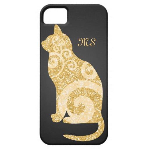 Brillo del oro del gato de Swirly iPhone 5 Case-Mate Cárcasas