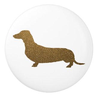 Brillo del oro del icono del perro del Dachshund Pomo De Cerámica