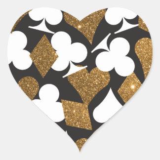 Brillo del oro del pegatina del corazón de Las