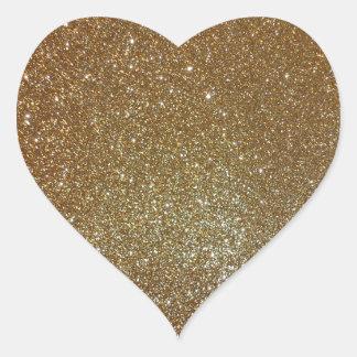 Brillo del oro calcomanías corazones personalizadas