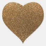 Brillo del oro pegatina en forma de corazón