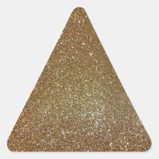 Brillo del oro pegatina triangular
