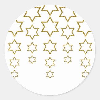 brillo del oro que conecta en cascada el modelo de pegatina redonda