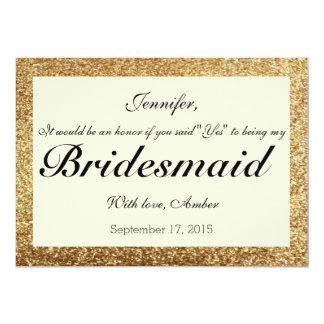Brillo del oro usted será mi invitación de la dama invitación 12,7 x 17,8 cm