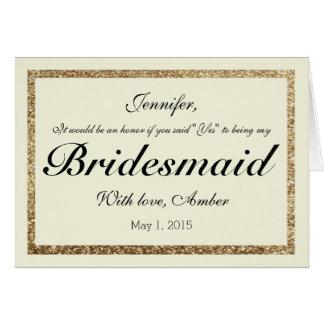 Brillo del oro usted será mi invitación de la dama tarjeta de felicitación