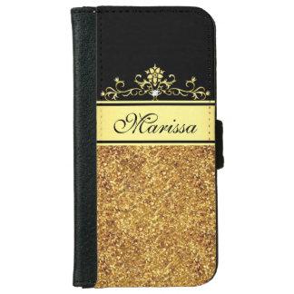 Brillo del oro y caja negra de la cartera del funda cartera para iPhone 6