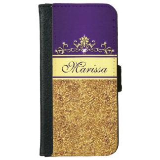 Brillo del oro y caja púrpura de la cartera del funda cartera para iPhone 6