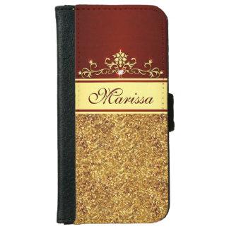 Brillo del oro y caja roja de la cartera del funda cartera para iPhone 6