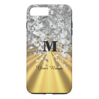 Brillo del oro y de la plata con monograma funda iPhone 7 plus